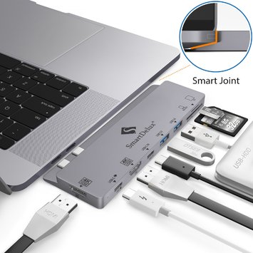 "USB Хаб Type C HDMIx2 для Macbook Pro 2016-2018 13""&15"" (Space Gray) (USB-C PD + 2 4K HDMI + 3 USB 3.0 + USB-C + SD + MicroSD) — SDUC-P8HS"