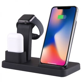 3-in-1 Wireless Charging Dock (Black) (for iPhone + AirPods + Apple Watch) — SDDS-C3-4B