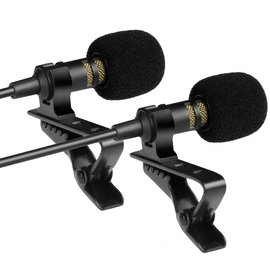 Lapel Microphones 2X PowerDeWise Set (2X microphone + 2X extension cable + 2X adapter + case) — SDML-PW2